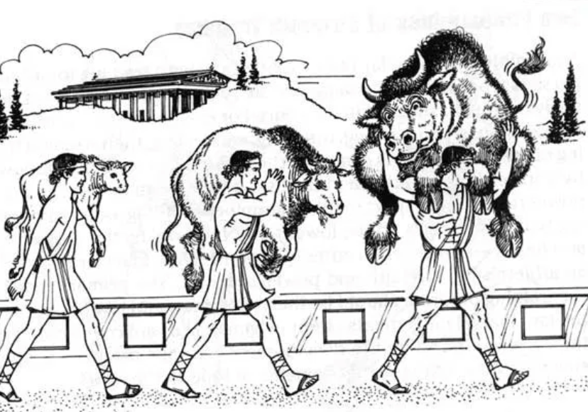 Milo of Croton carrying his bull, one of the earliest recorded examples of progressive overload for resistance training.