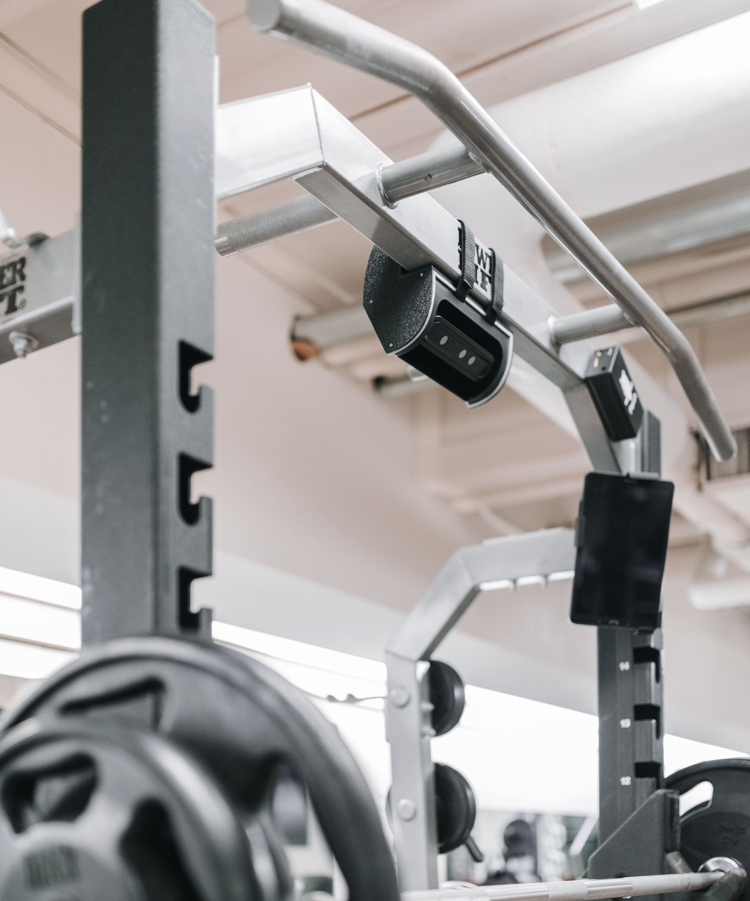 Perched on a rack to optimize your performance without interrupting your workout flow